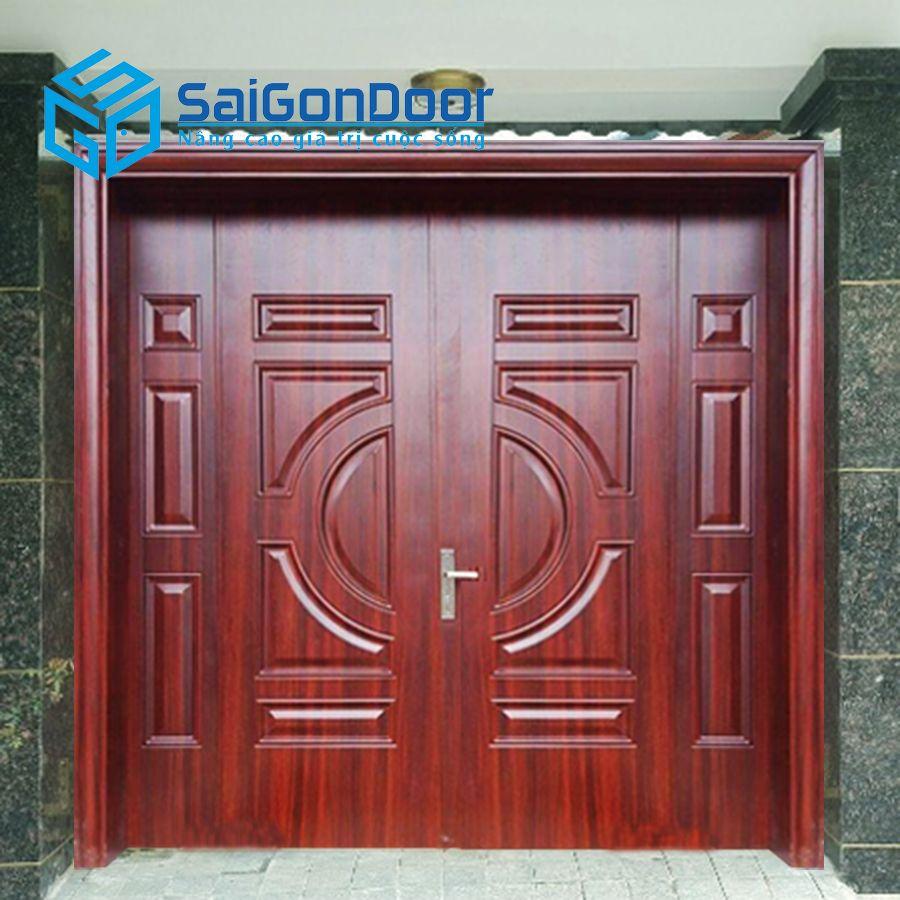 Cửa cho nhà phố dùng cửa thép vân gỗ TVG 2